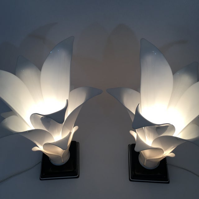 Rougier Palm Leaf Lucite Lamps- a Pair For Sale - Image 11 of 13