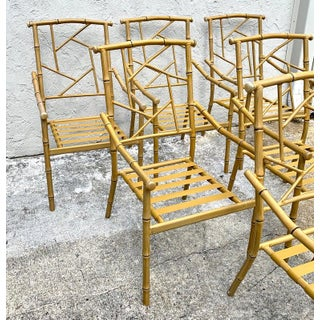 Set of Six Hollywood Regency Faux Bamboo Garden Chairs Preview