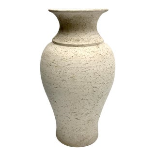 Brutalist Italian Bitossi Style Off White Textured Vase For Sale