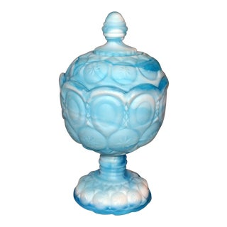 1950s Vintage Kawanha Slag Glass Covered Candy Dish For Sale
