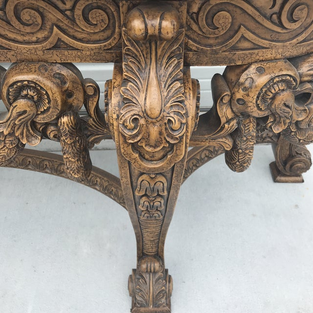 1980s Maitland Smith Leather Top Console Table For Sale - Image 5 of 13
