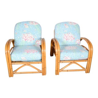 Vintage Mid-Century Bentwood Rattan Upholstered Chairs - A Pair For Sale