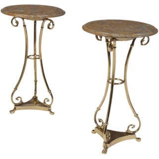 Brass Marble Top Gueridons - A Pair For Sale