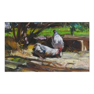 Cyrus Afsary -Chickens Getting Ready to Nest- Oil Painting
