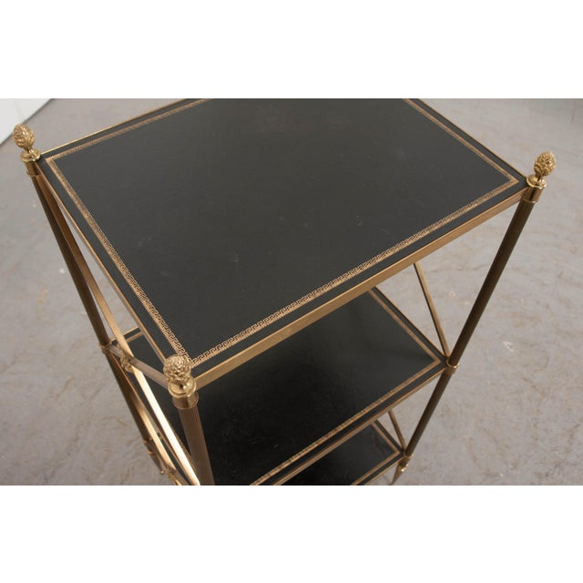 French 20th Century Neoclassical Brass and Leather Étagère For Sale - Image 4 of 10