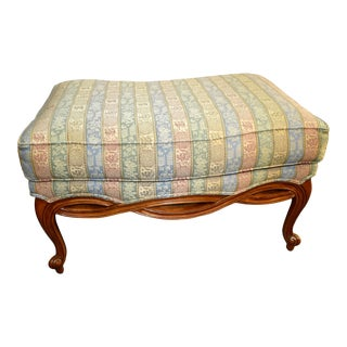 Vintage Ethan Allen Country French Style Stripped Ottoman For Sale