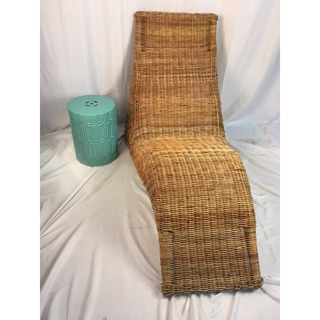 1970s Vintage Wicker Chaise Lounge | Chairish