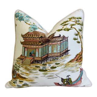 "Chinoiserie Asian Tea House Silk & Velvet Feather/Down Pillow 22"" Square For Sale"