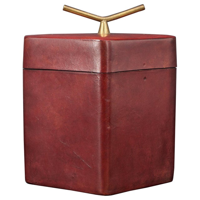 Brass Handled Red Leather Trinket Box Lid ScaccoMatto Italy Midcentury Regency For Sale - Image 10 of 10