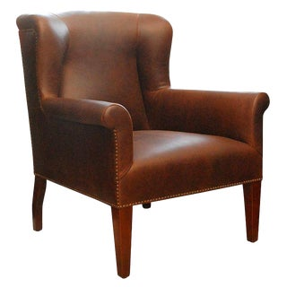 """Halstead"" by Lee Stanton Wingback Chair Upholstered in Leather For Sale"