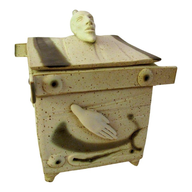 Kostas Ulevicius Tribal Spiritual Sculptural Face Pottery Box W/Lid For Sale