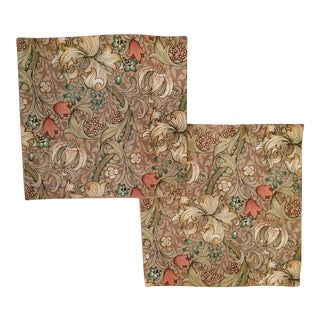 William Morris Green Lily Pillow Pair For Sale
