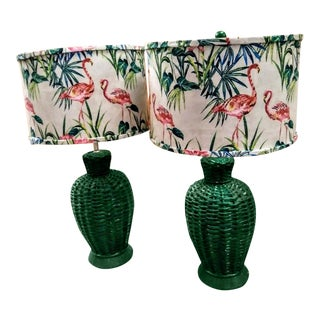 A Pair Vintage Palm Beach Regency Kelly Green Plaster Table Lamps W/ Custom Flamingo Shades For Sale