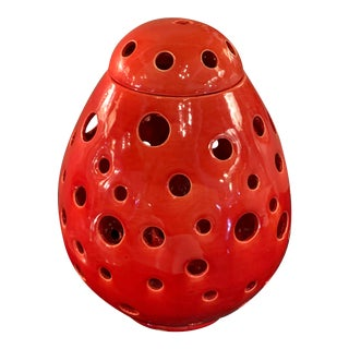 Moroccan Red Egg Shaped Table Lamp For Sale