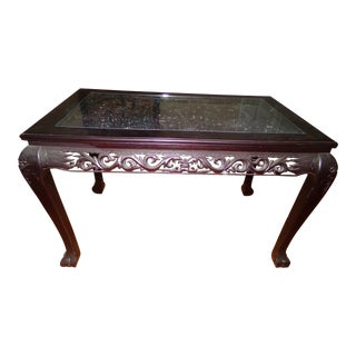 Vintage Carved Asian Library Table