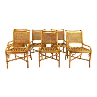 Caned Back Leather Wrapped Rattan Chippendale Dining Chairs - Set of 6