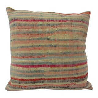 Handmade Striped Turkish Kilim Pillow Cover For Sale