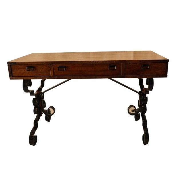 Vintage Fruitwood Iron Desk - Image 3 of 8
