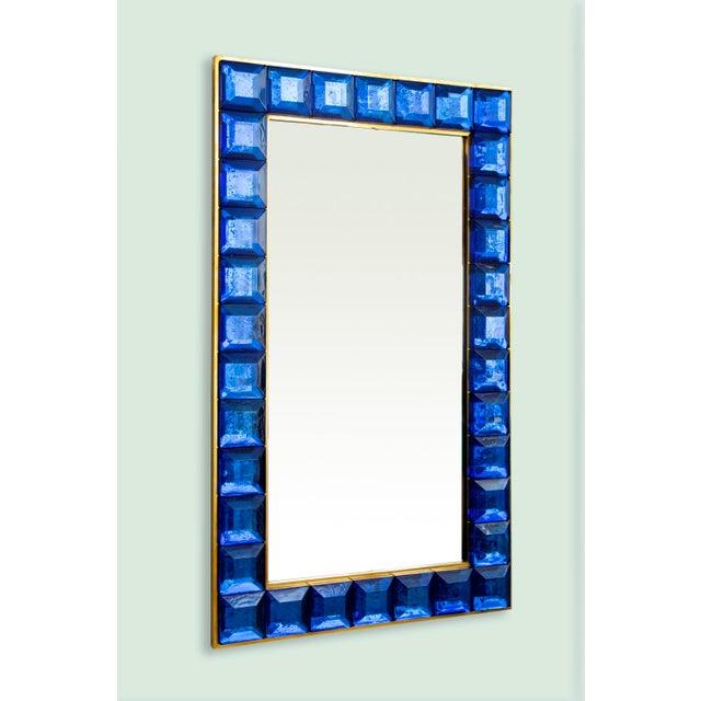 Blue Contemporary Blue Diamond Murano Glass Mirror For Sale - Image 8 of 8