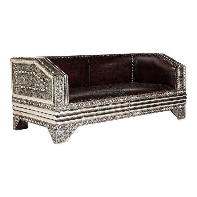 Silver Metal and Leather Royal Moroccan Loveseat - Image 1 of 4