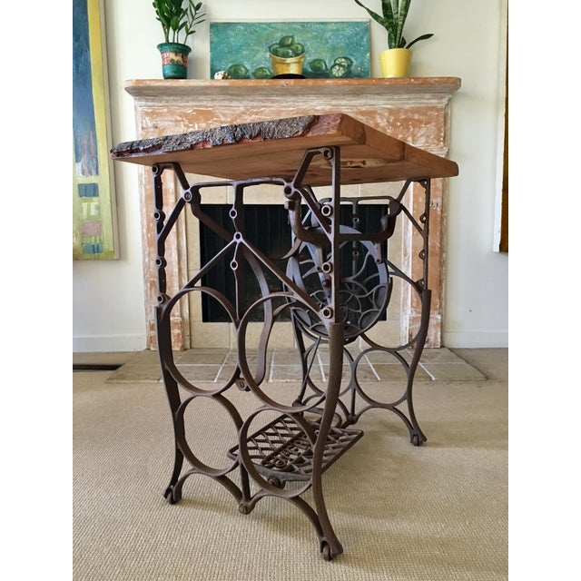 Live Edge Console with Sewing Machine Base For Sale - Image 4 of 10
