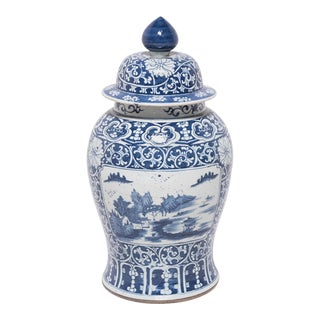 Chinese Blue and White Landscape Baluster Jar For Sale