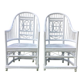 1970s Brighton Pavilion White Fretwork Rattan Arm Chairs - a Pair