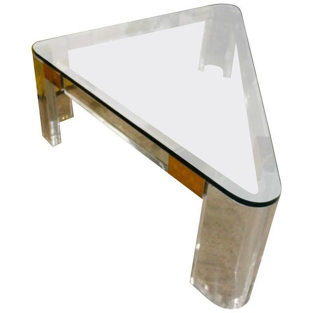 Charles Hollis Jones Lucite and Brass Triangle Coffee or Cocktail Table For Sale - Image 11 of 11