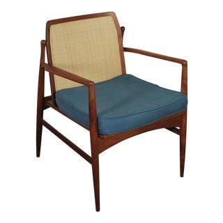 1960s Vintage IB Kofod Larsen for Selig Cane Back Armchair For Sale