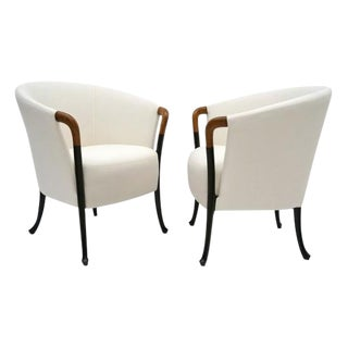 Pair of Curved Back Armchair With Beech Wood Legs For Sale