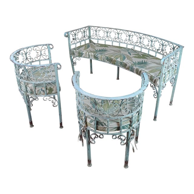 Art Nouveau Antique Cast Iron Patio & Garden Settee & 2 Chairs Set For Sale