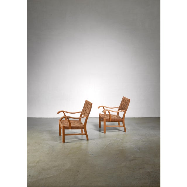 Mid-Century Modern Fritz Hansen Beech and Seagrass Chairs, Denmark, 1930s For Sale - Image 3 of 5