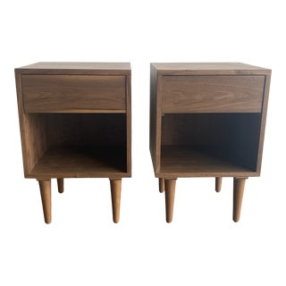 Mid Century Modern Style Walnut Night Stand - Pair For Sale
