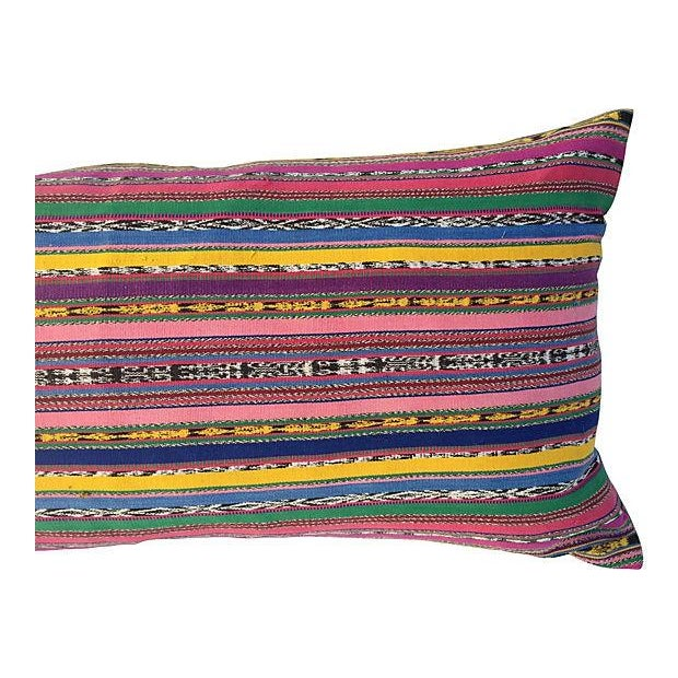 Custom pillow in vintage colorful striped handwoven cotton Guatamalin ikat skirt fragment. New linen back, down feather...