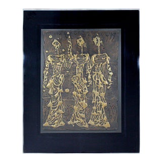 Lucite Framed Signed Bronze Relief Wall Sculpture Jerusalem Girls Moshe Castel For Sale