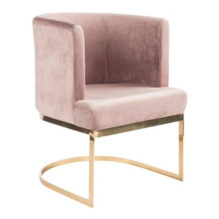 Hazel Gold Chrome Dining Accent Chair For Sale