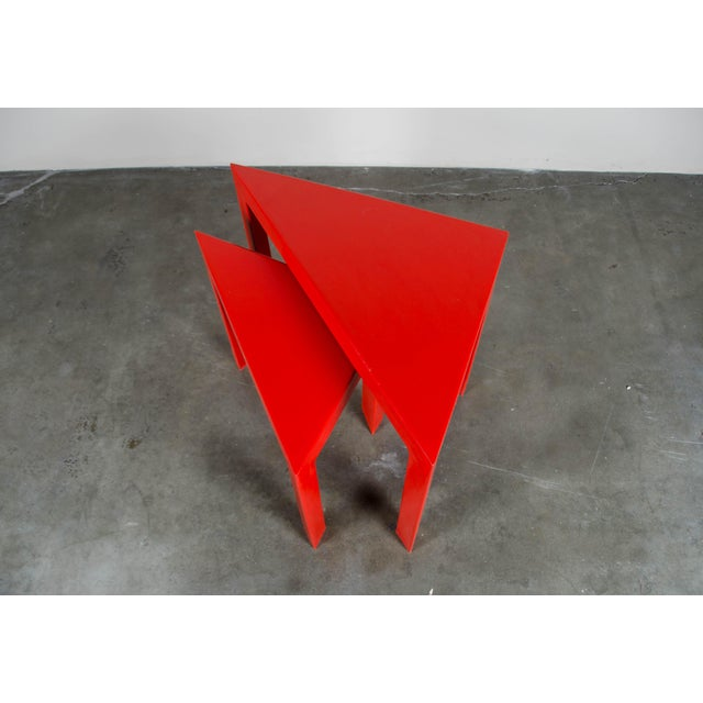 Robert Kuo Red Lacquer Corner Nesting Tables - A Pair For Sale - Image 4 of 5