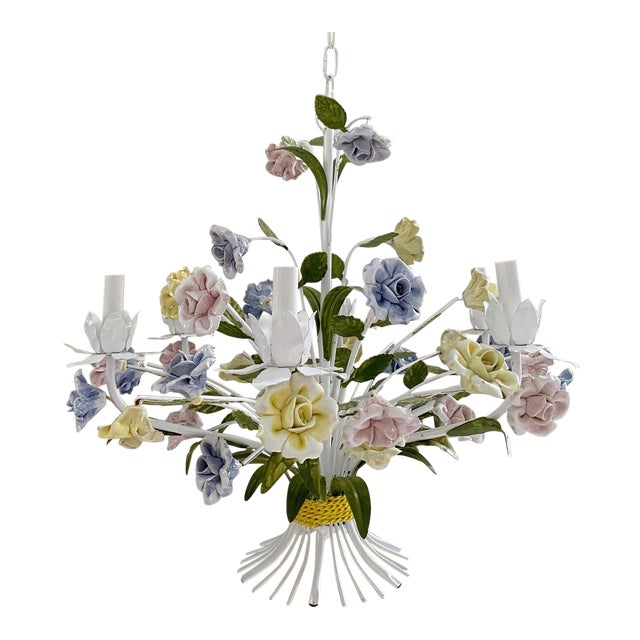 Vintage Ca 1950s Italian Tole 6 Arms Chandelier & Porcelain Rosebuds Flowers For Sale