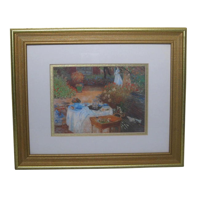 Impressionist Print in Hart Lake Gold Frame For Sale