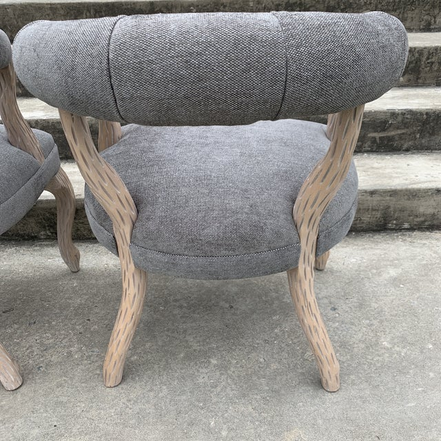 1970s Faux Bois Bergere Accent Chairs - a Pair For Sale - Image 10 of 11