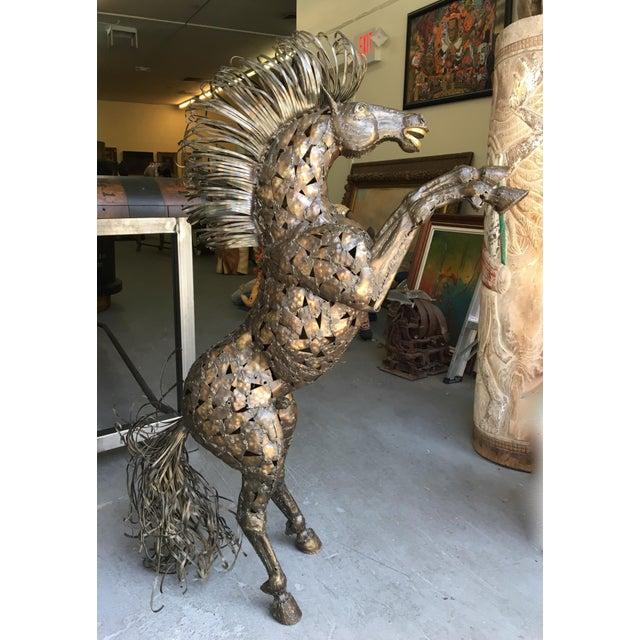 Vintage Bucking Horse Metal Sculpture - Image 2 of 11