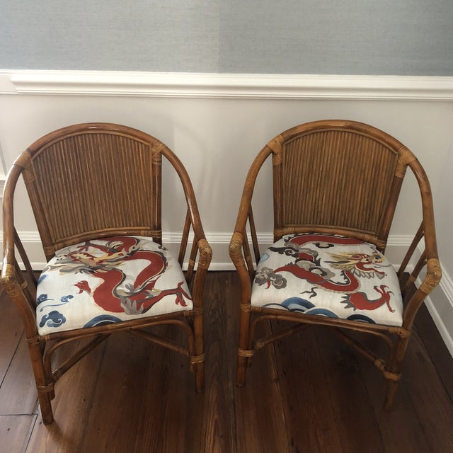 Carleton Varney Fabric Upholstered Bamboo Arm Chairs - a Pair For Sale - Image 12 of 12