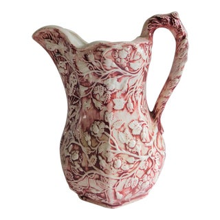 Fabulous Vintage Cranberry Ceramic Embossed Pitcher For Sale