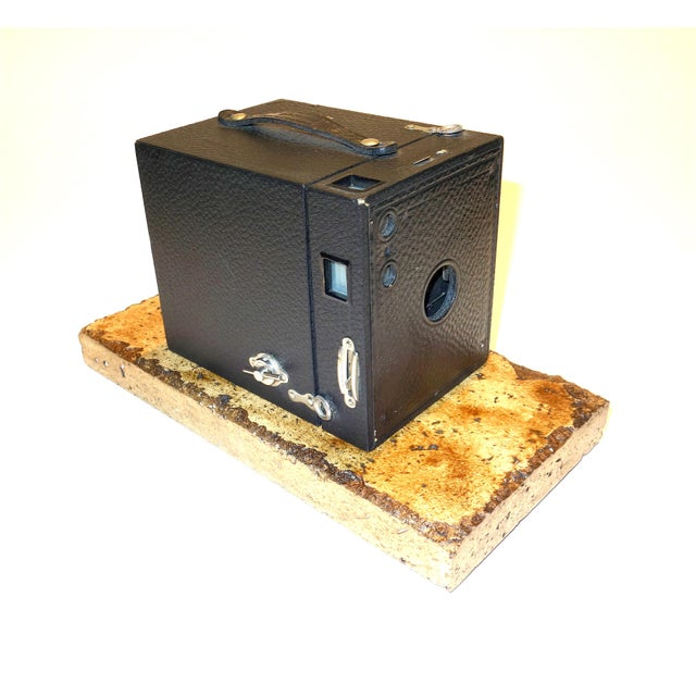 Art Nouveau Kodak No. 3 Brownie Box Camera on Travertine Base. Circa 1920 For Sale - Image 3 of 3