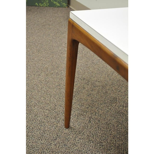 Vintage Mid Century Modern Walnut & Laminate Square Coffee Table Danish Style For Sale - Image 5 of 11