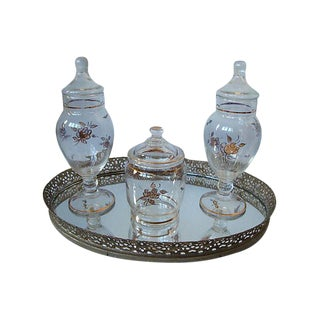 Mirrored Vanity Dresser Tray & Apothecary Jars- Set of 4
