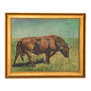 Original Oil on Canvas Painting of Bull in Field, Signed Gunnar L., Dated 1922 For Sale