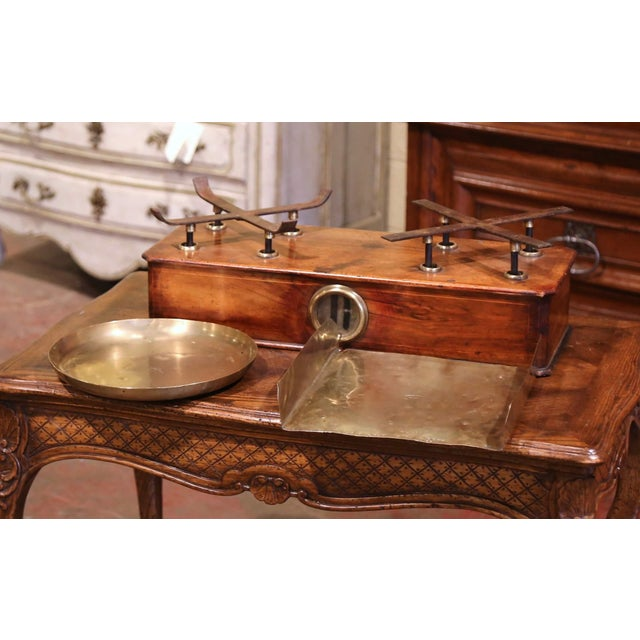 19th Century French Napoleon III Walnut and Brass Scale With Set of Weights For Sale - Image 4 of 12