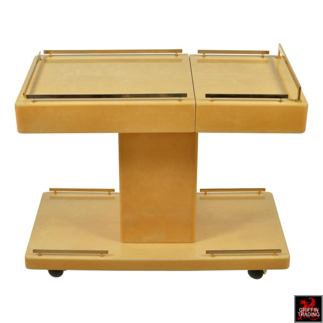 Hollywood Regency Aldo Tura Italian Cocktail Cart - Bar Cart in Lacquered Goatskin For Sale - Image 3 of 12
