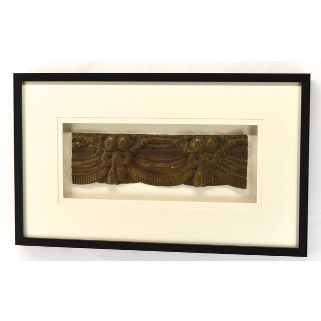 Antique hand made brass valance made by the repousse method, French In a all wood frame with UV acrylic